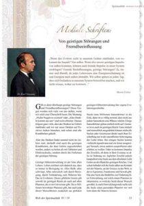 """Artikel von Martin Fieber: """"Mediale Schriften - Von geistigen Störungen und Fremdbeeinflussung"""" Quelle: Welt der Spiritualität 01 / 18"""